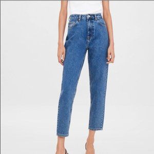 NEW ZARA MOM FIT HI RISE ANKLE LENGTH JEANS blue Size 6